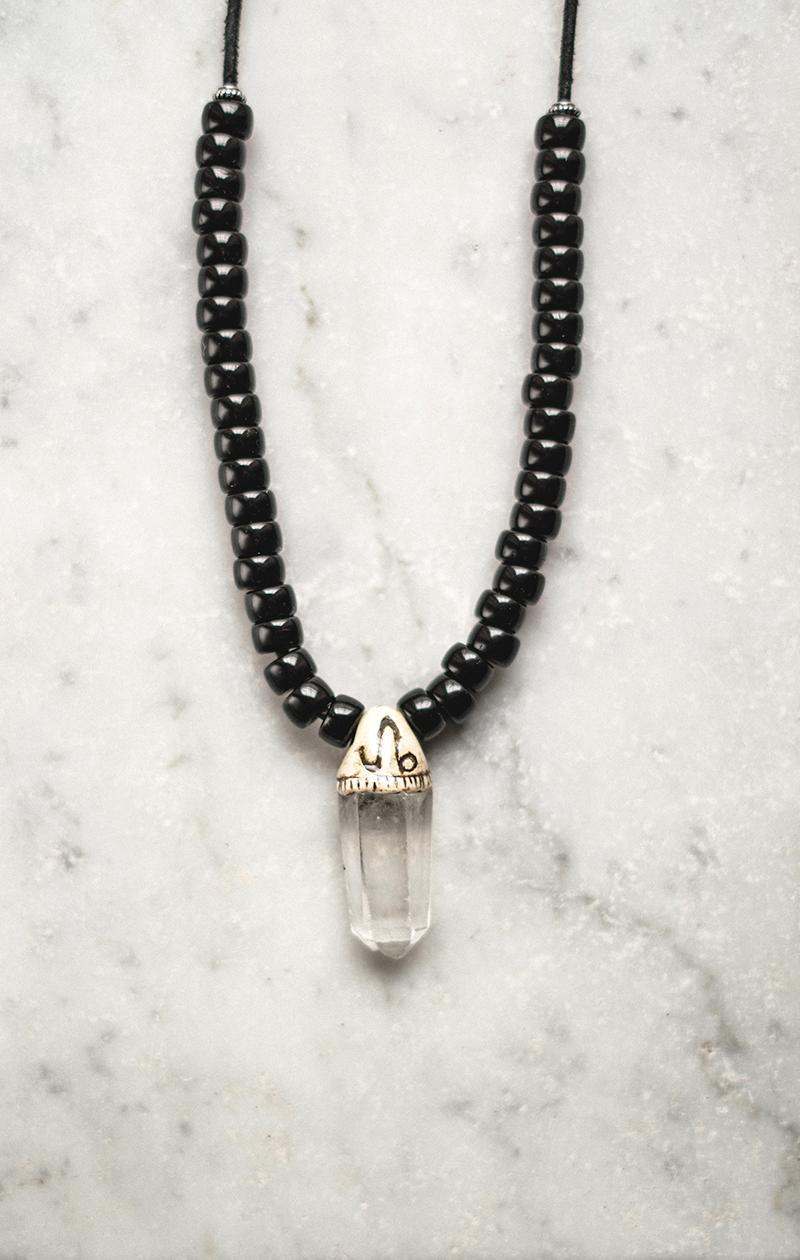 Kette Bergkristall mit Miyuki Perlen und Leder
