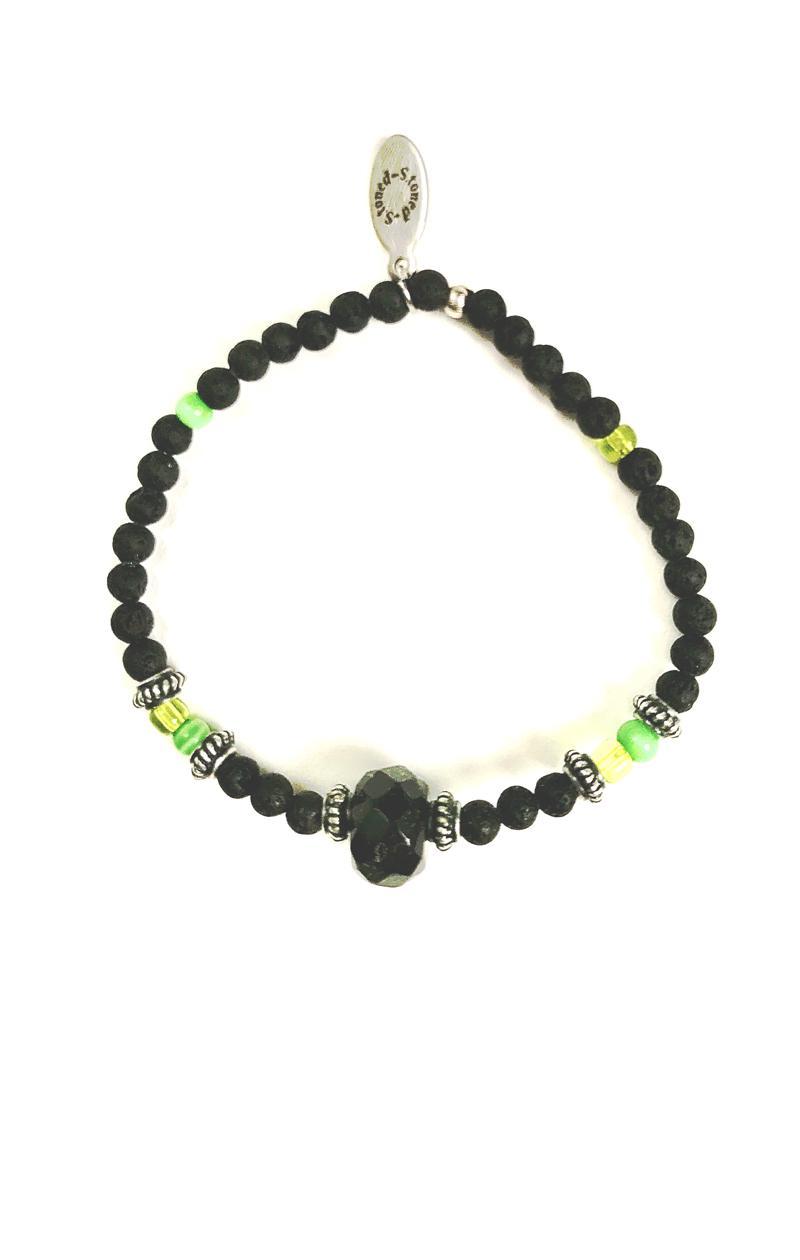 Armband ONYX mit Lavaperlen und Silber