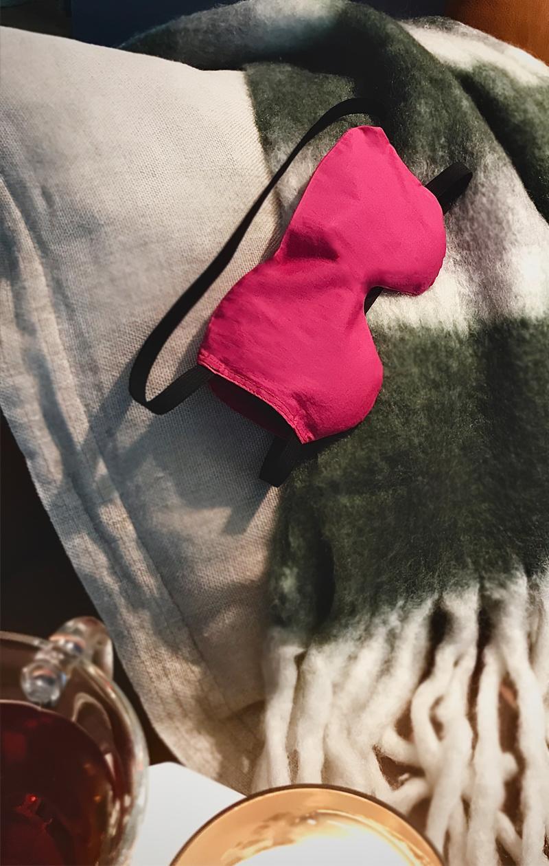 Schlafmaske PINK CUSHION aus Baumwolle mit  Bio Lavendel und Leinsamen