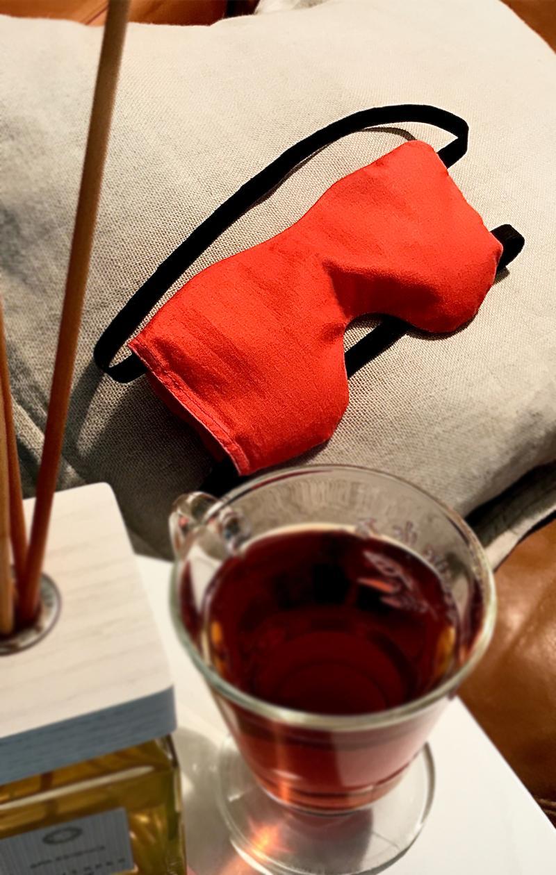 Schlafmaske ORANGE JOY aus Baumwolle mit  Bio Lavendel und Leinsamen