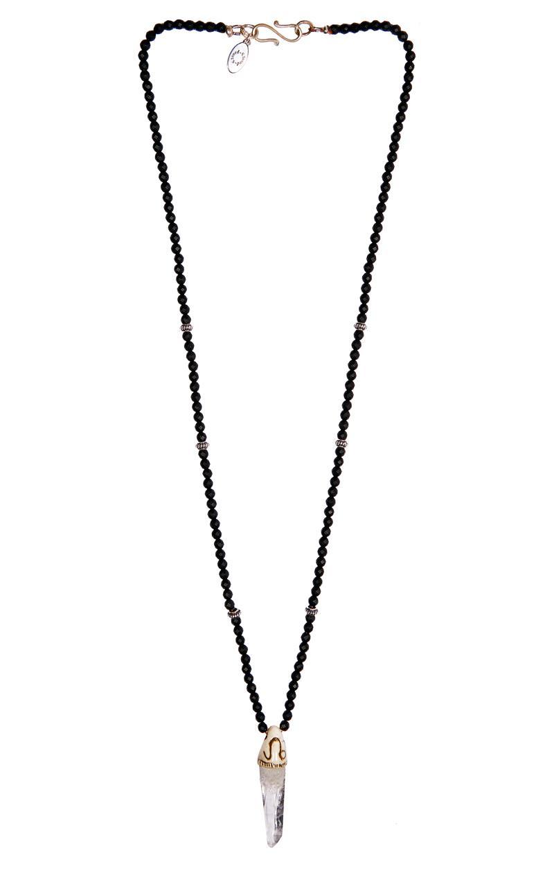 Kette BERGKRISTALL ONYX mit Sternzeichen-Symbol Löwe