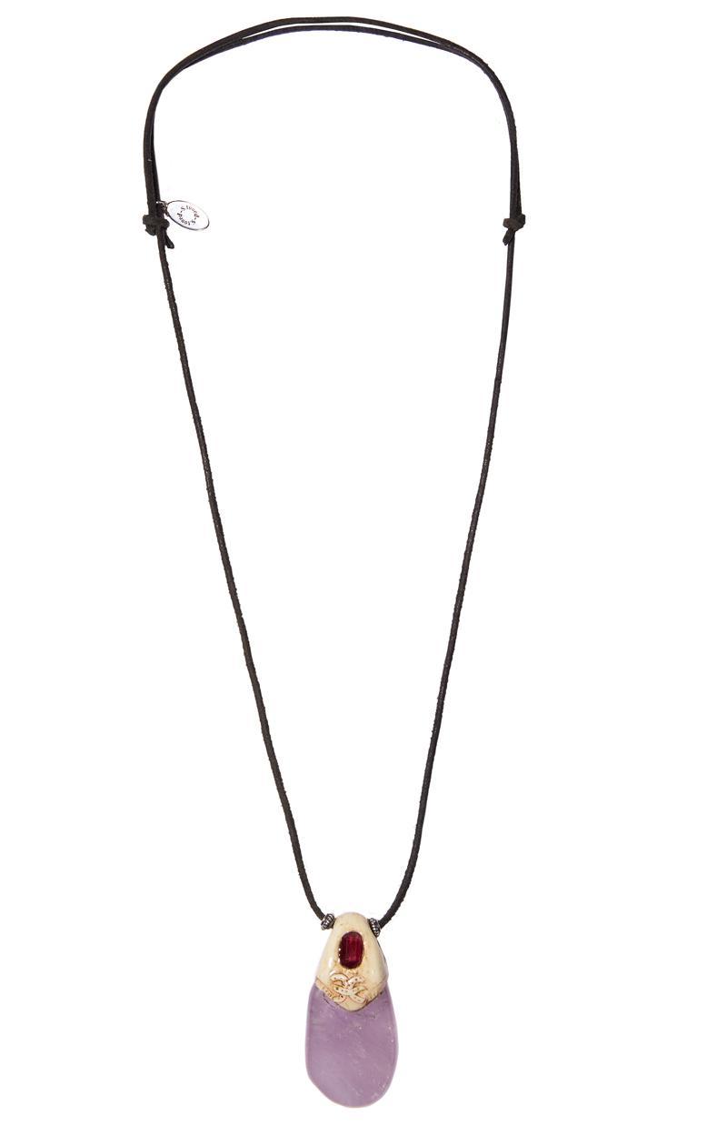 Kette AMETHYST GRANAT mit Silber und Leder