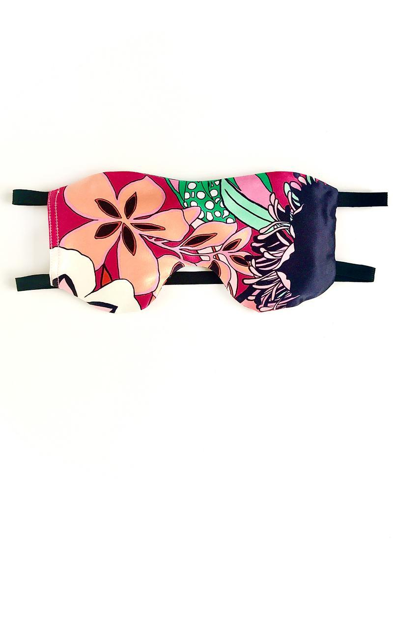 Schlafmaske FLOWER POWER aus Baumwollsatin mit Lavendel Duft und elastischen Bändern