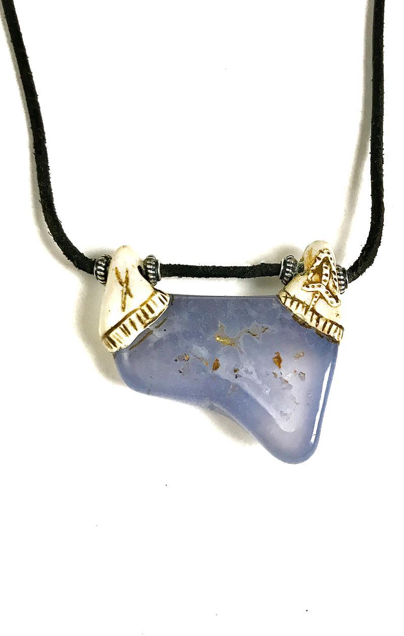 Kette BLUE DEVILS CHALCEDON mit Leder und Silber